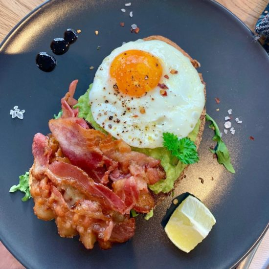 Avocado on toast extra egg bacon