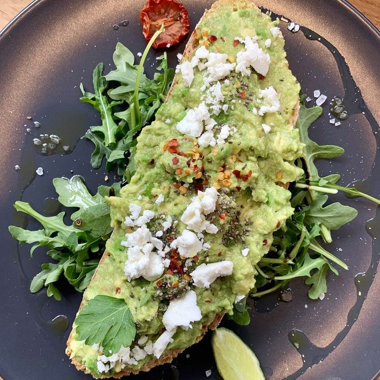 Avocado on toast with cheese