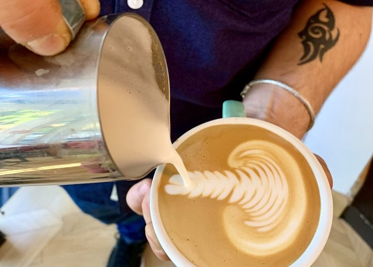 latte art on a cappuccino