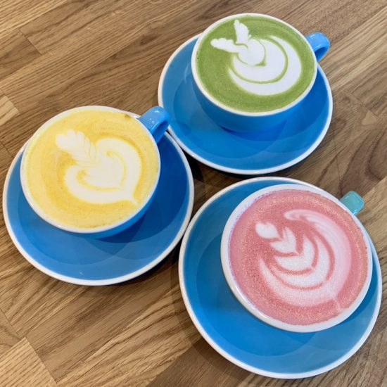 Matcha, golden and beetroot latte