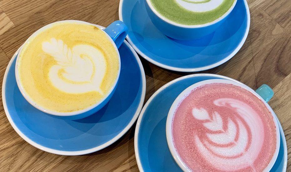 Matcha, golden and beetroot latte