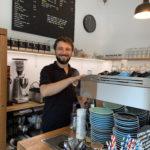 Alberto at the coffee machine